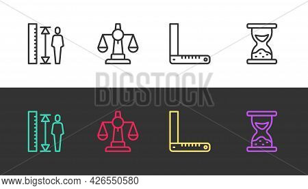 Set Line Measuring Height Body, Scales Of Justice, Corner Ruler And Old Hourglass With Sand On Black