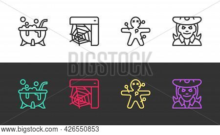 Set Line Halloween Witch Cauldron, Spider Web, Voodoo Doll And Witch On Black And White. Vector