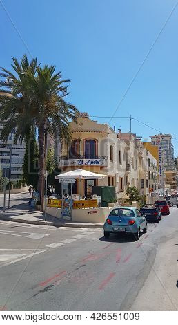 Calpe, Alicante, Spain.- August 24 2016; Street Corner With Restaurant Name El Ancla Translates To T