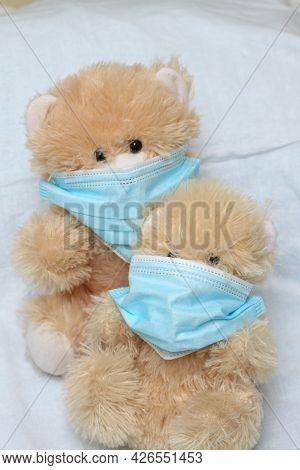 Plush Toy With A Syringe Mask. Vaccination, Covid, Virus, Epidemic, Pandemic.