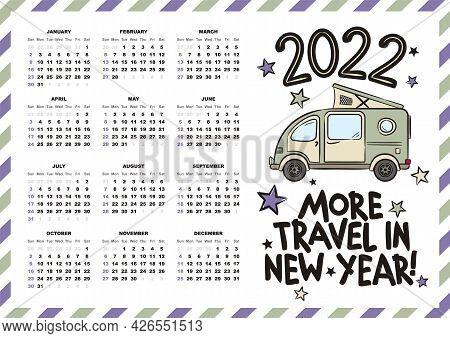 Airmail Calendar Template. 2022 Yearly Calendar. 12 Months Yearly Calendar Set In 2022. Cute Minivan