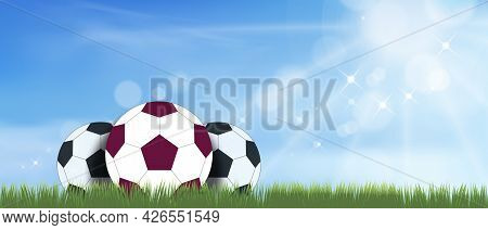 Football Grass Field With Blue Sky With Sun Shining, Vector Cartoon Soccer Ball On The Green Grass F