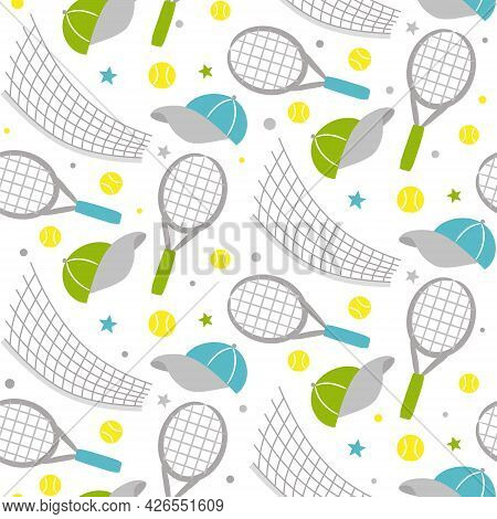 Seamless Hand Drawn Tennis Pattern. Hand Drawn Sport Background With Tennis Racket, Caps, Web And Ba