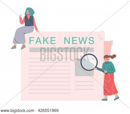 Fake News, People Reading Newspaper, Different Opinions Of Facts Cartoon Vector Illustration