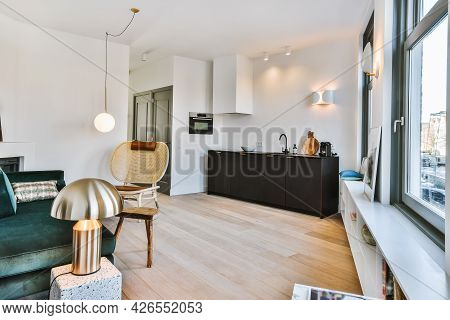 Interior Of A Beautiful Kitchen Of An Elite House