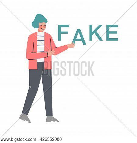 Fake News, Man Spreading Untruth Information Cartoon Vector Illustration