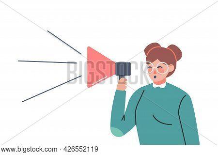 Woman With Loudspeaker Spreading Fake News, Untruth Information Cartoon Vector Illustration