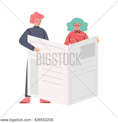 People Reading Newspaper, Fake News, Different Opinions Of Facts Disseminating Cartoon Vector Illust
