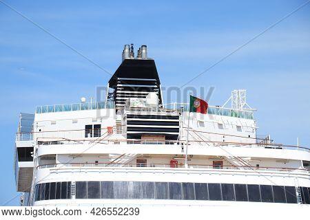 Ijmuiden, The Netherlands - July 8th 2021: Vasco Da Gama Mystic Cruises At Terminal. Preparing For S