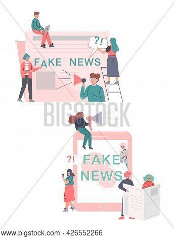 Fake News, Misinformation Spreading Set, Mass Media Propaganda, Untruth Information Spread Cartoon V