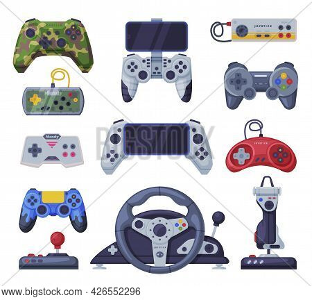Set Of Game Console Controllers, Video Game Players Accessory Device Vector Illustration