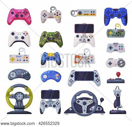 Modern Game Console Controllers Collection, Video Game Players Accessory Devices Cartoon Vector Illu