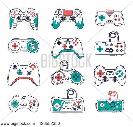 Video Game Controllers Set, Gamepad Consoles, Video Gamer Gadgets Hand Drawn Vector Illustration