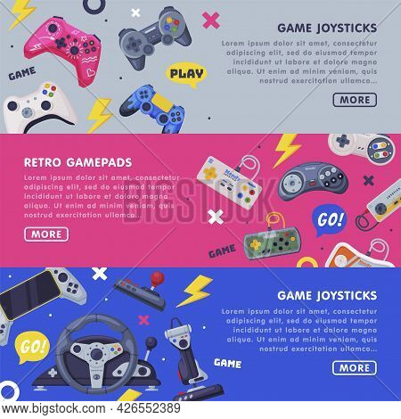 Game Joystick Landing Page Templates Set, Retro Gamepads Horizontal Banners With Space For Text And