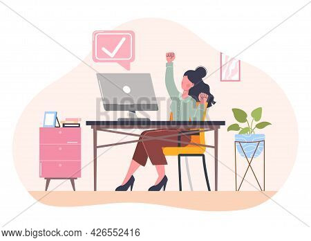 Completed Task Concept. Woman Sitting At A Desk In The Office And Is Happy About The Completion Of T