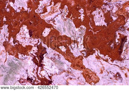 Detail Of Red Marble Material Texture Pattern Background
