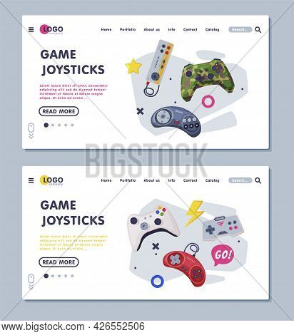 Game Joystick Landing Page Templates Set, Gamepads Controllers Web Banners Vector Illustration