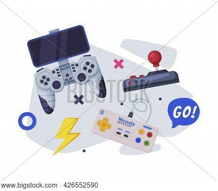 Game Joysticks, Modern And Retro Gamepad Controllers Set Cartoon Vector Illustration