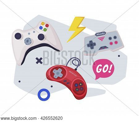 Game Joysticks, Modern And Retro Gamepads Controllers, Video Game Players Consoles Set Vector Illust