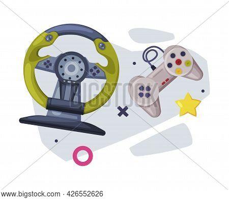 Game Joysticks, Gamepads Controllers, Video Game Players Consoles Set Cartoon Vector Illustration