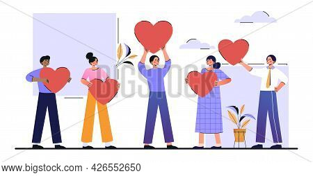 Customer Reviews Rating Concept. Different People Hold Hearts In Their Hands And Give Feedback To A