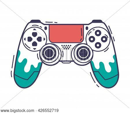 Video Game Console, Gamepad Controller, Game Player Gadget Hand Drawn Vector Illustration