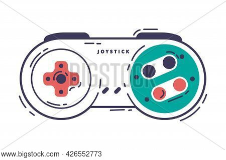 Video Game Controller, Gamepad Console, Game Player Gadget Hand Drawn Vector Illustration