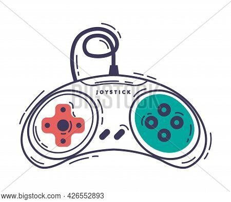 Video Game Controller, Video Game Player Device Hand Drawn Vector Illustration