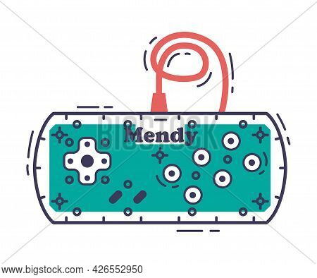 Game Console With Buttons, Video Game Controller Accessory Device Hand Drawn Vector Illustration