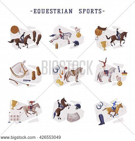 Equestrian Sports Set, People Riding Horses, Racing, Dressage, Vaulting, Horse Riding Essentials And