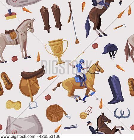 Equestrian Sport Equipment Seamless Pattern, Derby, Horse Racing Background, Wallpaper, Textile, Pac