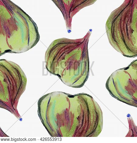 Figs Fruits Of  Yellow  Fruits, With Pulp And Whole Picture And Pattern Seasonal Natural Product, He