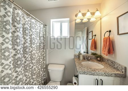 Bathroom Interior With Ambient Lighting And Window