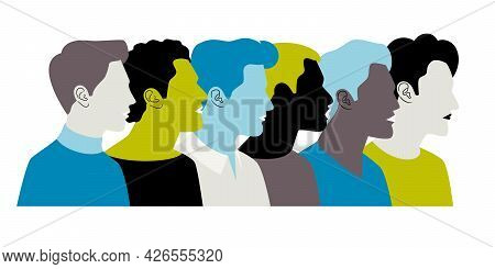 Colorful Young Men Profiles. Vector Color People Portrait Silhouettes, Students Faces Group, Teenage