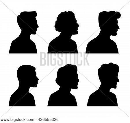 Young Men Profile Silhouettes. Vector Heads Silhouette Set Illustration, Man Dark Sketch Portraits,
