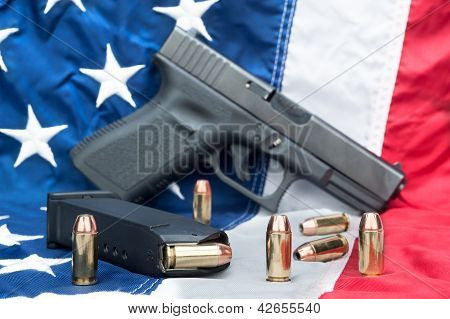 Pistol On Flag