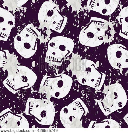 A Horror Halloween Skulls Seamless Vector Pattern