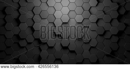 Black Hexagon Honeycombs Random Shifted Mosaic Abstract Background Pattern Geometrical Design With L