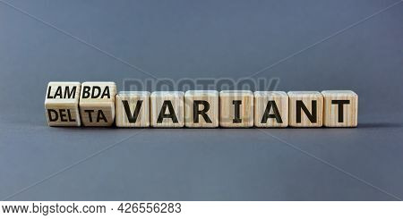 Covid-19 Delta Or Lambda Variant Symbol. Turned Wooden Cubes, Changed Words Delta Variant To Lambda