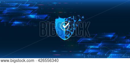 Internet Security Concept With Shield And Hi-tech Technology Elements Background. Cyber Security And