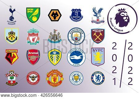 Saint-petersburg, Russia - July 13, 2021: Logos Of All 20 Teams Of The English Premier League And Th