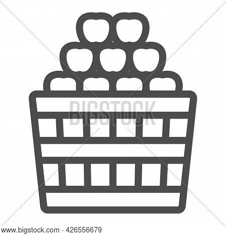 Basket Full Of Apples Line Icon, Fruit Harvest Concept, Full Box Of Apples Vector Sign On White Back