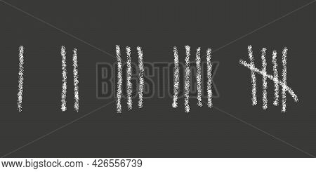 Chalk Drawn Tally Marks On Black Background. Day Counting Sticks On Prison Wall Or Chalkboard. Unary
