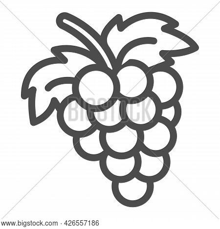 Bunch Of Grapes Line Icon, Fruits And Berries Concept, Cluster Of Grapes Vector Sign On White Backgr