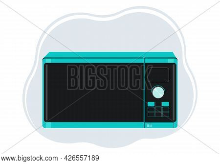 Illustration Of A Stylish Microwave Oven In Emerald Color