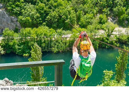 Zip Line, Man Have Activity Outdoor Adventure Zipline Adventure In Mountains