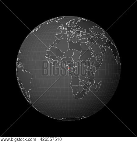 Dark Globe Centered To Equatorial Guinea. Country Highlighted With Red Color On World Map. Satellite