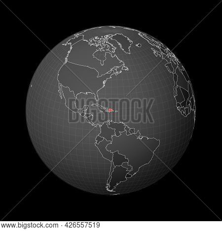 Dark Globe Centered To Dominicana. Country Highlighted With Red Color On World Map. Satellite World