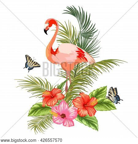 Illustration With Flamingos And Tropical Flowers.vector Illustration With Tropical Plants And Flamin