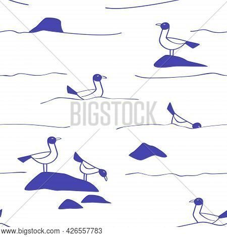 Seamless Pattern Of Seagulls On The Waves In The Style Of Line Art. Print For Clothing With A Marine